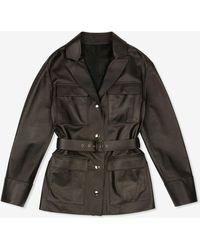 Bally Belted Leather Jacket - Black