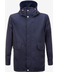 Bally - Hooded Parka In Nylon With Crest - Lyst