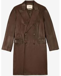 Bally Double-breasted Leather Coat - Brown