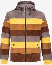 Bally Colourblock Stripe Suede Parka - Multicolour