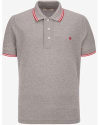 Bally Striped Neck Polo Shirt - Grey