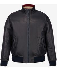Bally Leather Bomber Jacket - Blue
