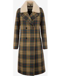 Bally - Check Double Breasted Coat - Lyst