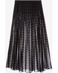 Bally Cotton Lace Pleated Skirt - Black
