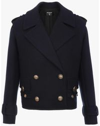 Balmain Navy Blue Wool Pea Coat With Gold-tone Buttons