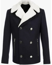 Balmain Shearling Collar Badge Pea Coat - Blue