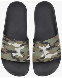 Balmain Calfskin Calypso Sandals With Khaki Camouflage Print And Debossed Tone-on-tone Logo - Multicolor