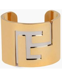 Balmain Brass Cuff With Monogrammed Gold And Silver Finish - Metallic