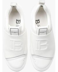 Balmain Smooth White Leather B-court Easy Trainers With Embossed White Monogram