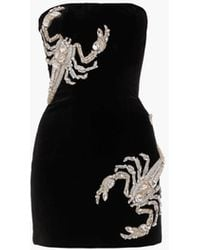 Balmain Bustier Dress With Scorpion Embroidery - Black