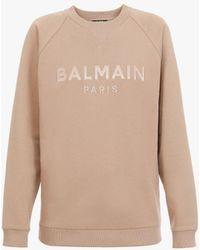 Balmain Dark Beige Cotton Sweatshirt With Satin Logo - Natural