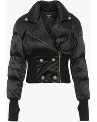Balmain Quilted Coat With Gold-tone Buttons - Black