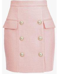 Balmain Short Pastel Pink Wool Double-buttoned Skirt
