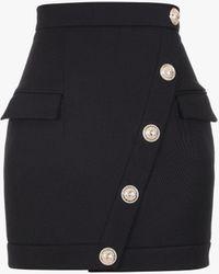 Balmain Short Buttoned Black Wool Skirt