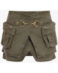 Balmain High-waisted Khaki Cotton Skirt - Natural