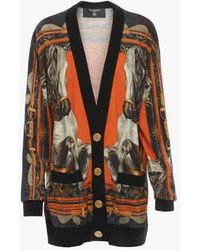 Balmain Oversized Print Knit Cardigan With Gold-tone Buttons - Multicolour