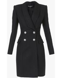Balmain Double-breasted Black Wool Coat With Silver-tone Buttons
