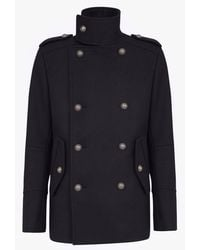 Balmain Wool Military Pea Coat With Double-breasted Silver-tone Buttoned Fastening - Blue