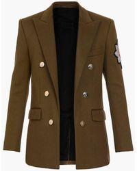 Balmain Farbenes Jackett aus Baumwolle mit doppelreihigem goldfarbenem Knopfverschluss und -Aufnäher - Blau