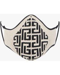 Balmain And Black Cotton Mask With Monogram - White
