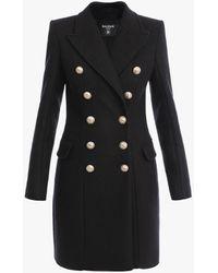 Balmain Double-breasted Black Wool Coat