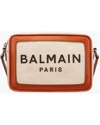 Balmain Ecru Canvas B-army 22 Bag With Brown Leather Panels