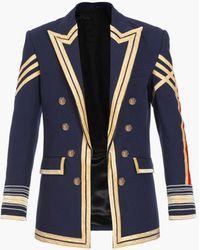 Balmain Marineblaues Jackett mit doppelreihigem Knopfverschluss und Stickerei
