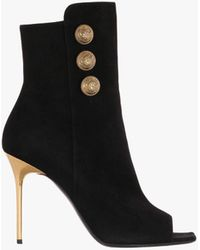 Balmain - Suede Roma Ankle Boots - Lyst