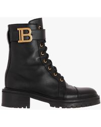 Balmain Leather Ranger Romy Ankle Boots - Black