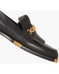 Balmain Leather Loafers With Gold-tone Chain - Black