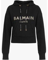 Balmain Short Black Cotton Hooded Sweatshirt With Gold Flocked Logo