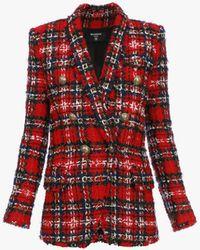 Balmain Oversize-Blazer aus Tweed mit doppelreihigem goldfarbenem Knopfverschluss und Schottenmuster - Rot