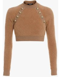 Balmain Long-sleeved Dark Camel Knit Cropped Top With Gold-tone Buttons - Natural