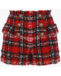 Balmain High-waisted Red Tartan Tweed Shorts