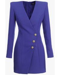 Balmain Short Sapphire Blue Wool Cache-coeur Dress