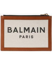 Balmain Ecru Canvas B-army 26 Clutch With Brown Leather Panels