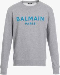 Balmain Grey Cotton Sweatshirt With Turquoise Velvet Logo