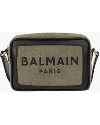 Balmain Canvas B-army 22 Bag With Black Leather Panels