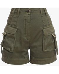 Balmain High-waisted Khaki Cotton Cargo Shorts - Multicolour