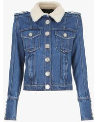 Balmain Blue Denim Jacket With Faux Sheepskin Collar