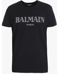 Balmain Cotton T-shirt With White Paris Logo - Black