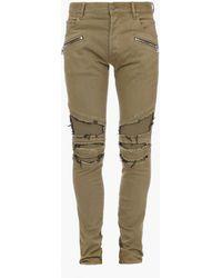 Balmain Farbene Slim Fit Jeans aus Baumwolle im Destroyed-Look - Natur