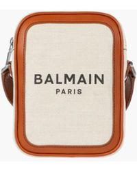 Balmain Ecru Canvas B-army 16 Bag With Brown Leather Panels