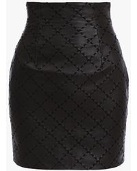 Balmain Leather Knee-length Skirt With Diamond-shaped Stitching - Black
