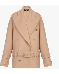 Balmain Wool And Cashmere Pea Coat With Double-breasted Gold-tone Buttoned Fastening - Natural