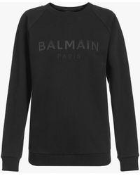 Balmain Cotton Sweatshirt With Black Satin Logo