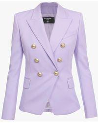 Balmain Doppelreihiger lavendelfarbener Blazer mit goldfarbenen Knöpfen - Lila