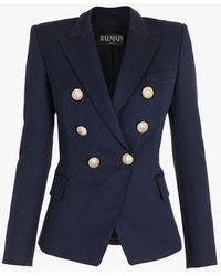 Balmain Double-breasted Grain De Poudre Virgin Wool Jacket - Blue
