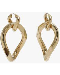 Balmain Brass Earrings With Burnished Gold Finish - Metallic