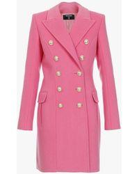Balmain Double-breasted Pink Wool Coat